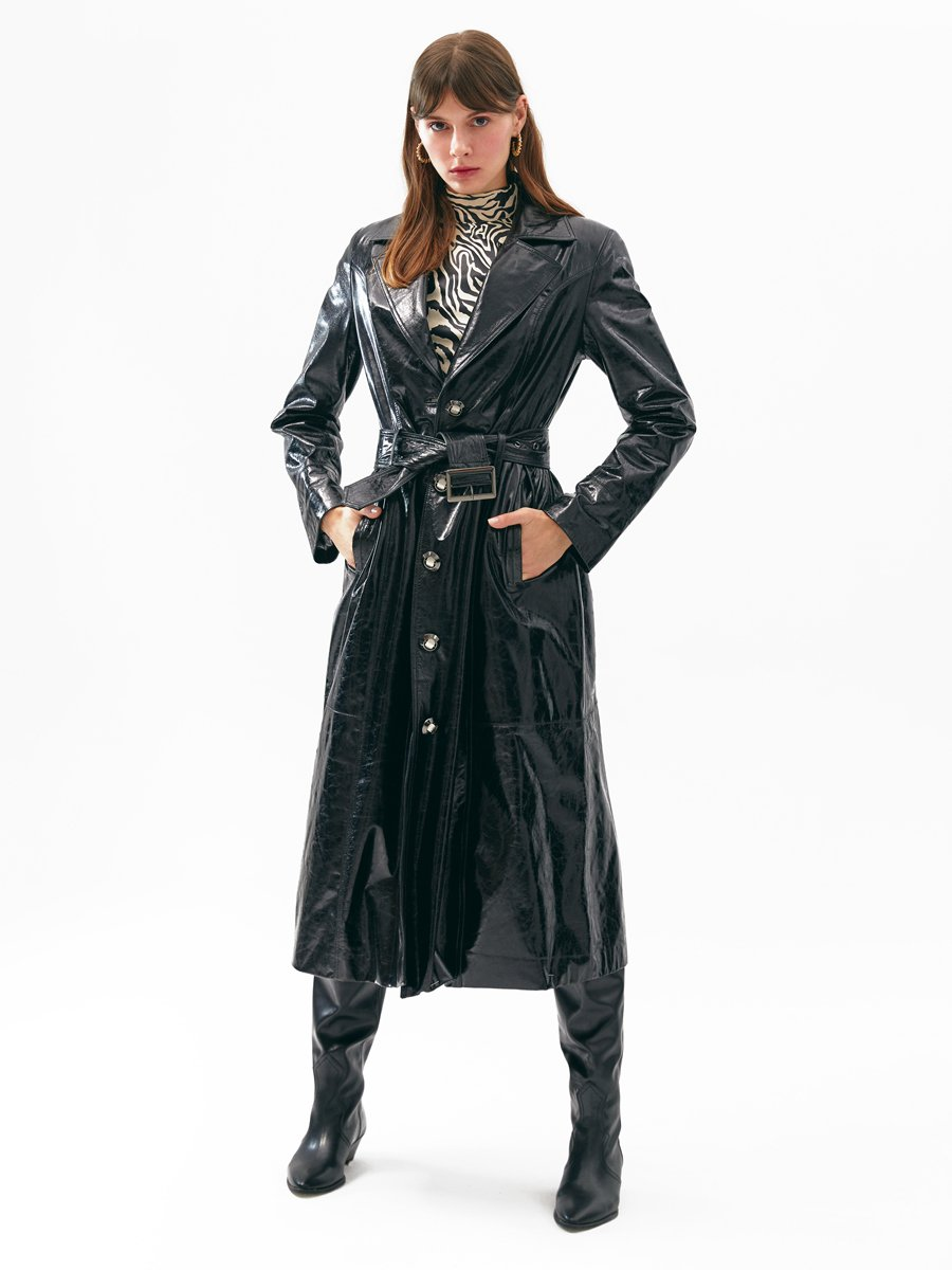 Black Leather Coat images