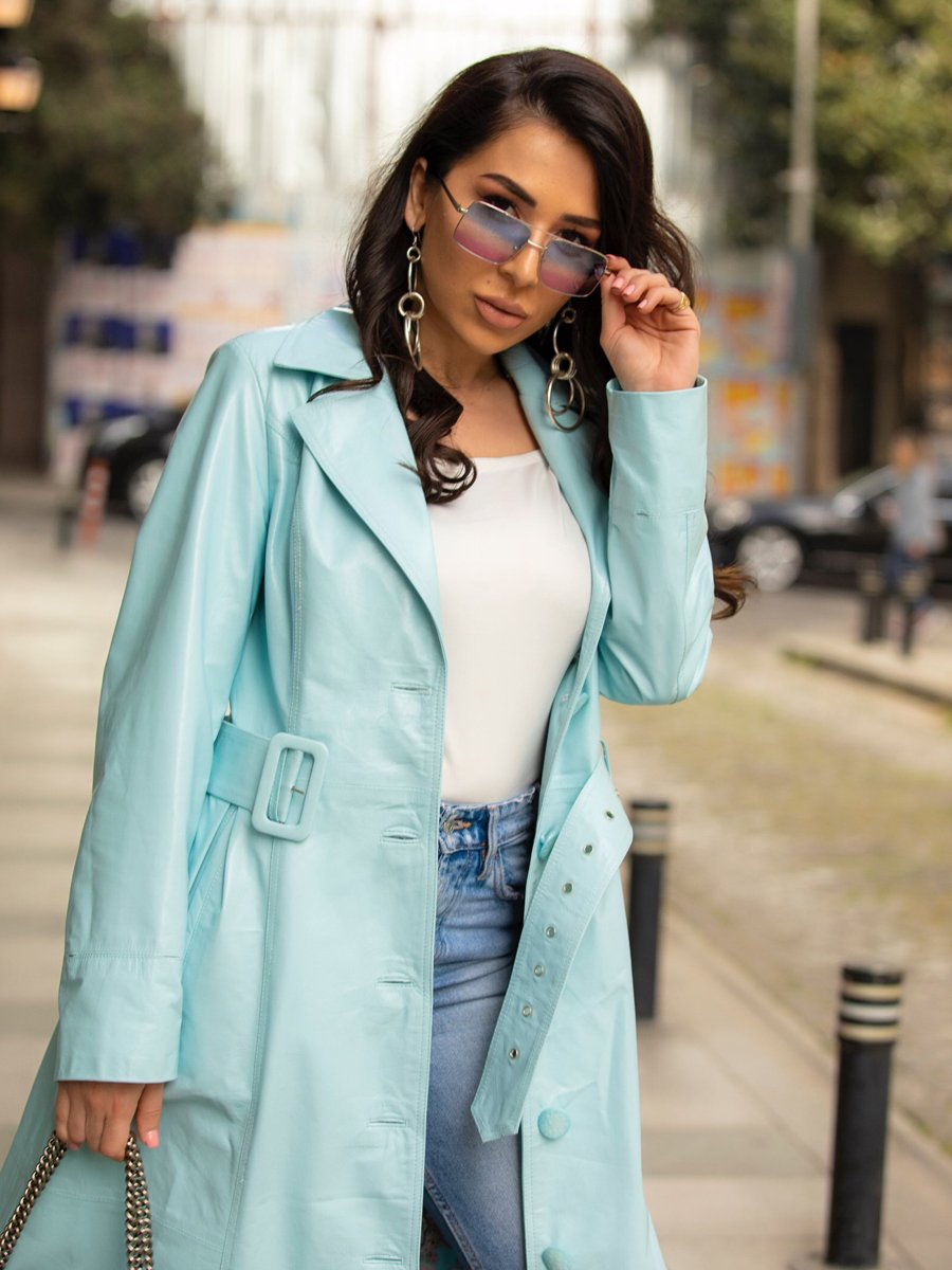 Baby Blue Trench Coat images